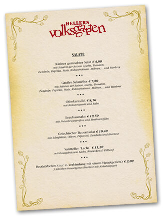 Speisekarte Volksgarten